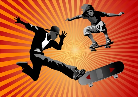 Skateboarding Stock Vector - 12496880