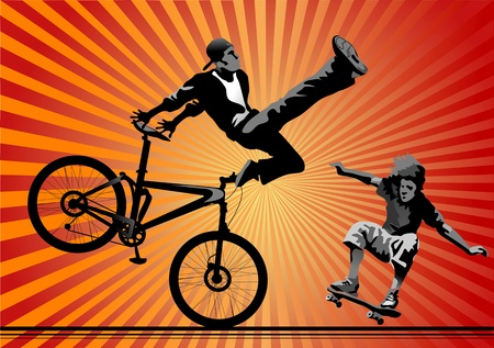 Skateboarding and bicyclist in air  silhouette