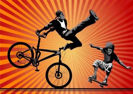 skateboard park: Skateboarding y ciclistas en la silueta de aire Vectores