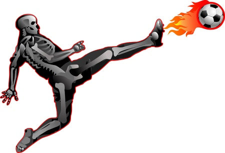 Skeleton of soccer player and Hot soccer ball on the speed in fires flame