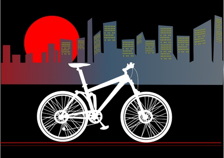 mountain bike in the downtown Vector