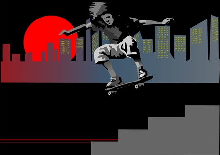 showoff: silhouette of a skateboarder jumping in the downtown  Sunrise Illustration