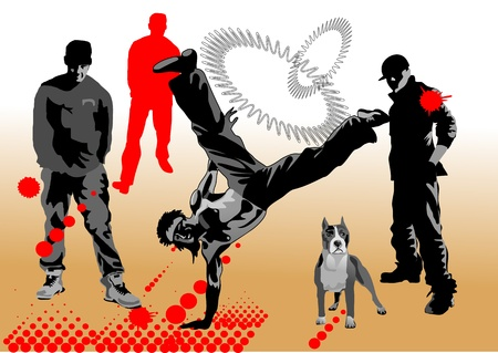 mastiff: Hip hop dancer, dancing in the street among the people   Illustration