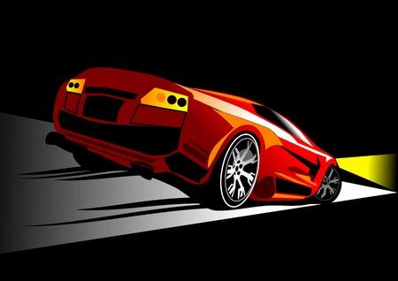 sportiva rossa corse automobilistiche su strada di notte con le luci accese Vettoriali