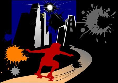 showoff: skateboarder in town  escape into the night Illustration