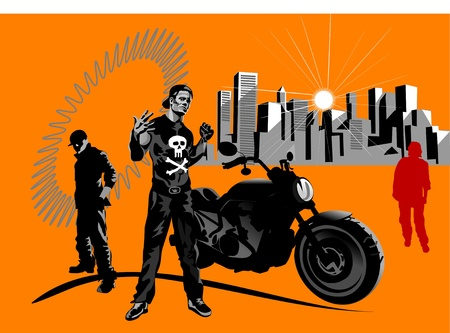 A macho motorcycle rider and motorbike Stock Vector - 12497044