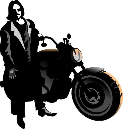 motorbike and macho motorcycle rider