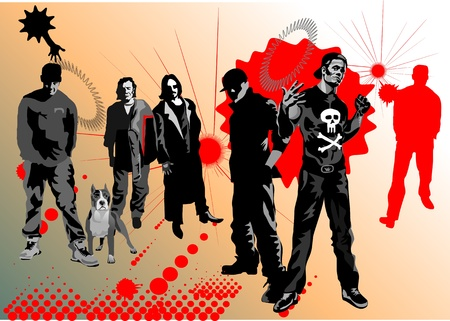 Rappers  band on the street Vector