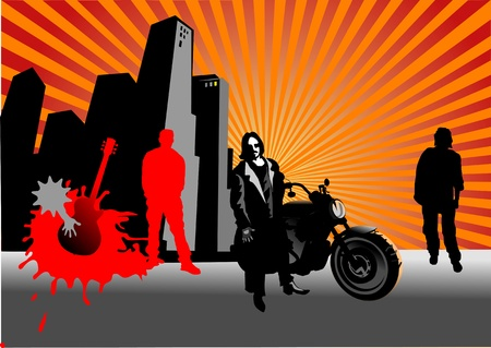 Rocker, star and motorcyclist  City in sunset  Illustration