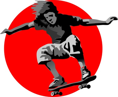 showoff: skateboarder in a red circle Illustration