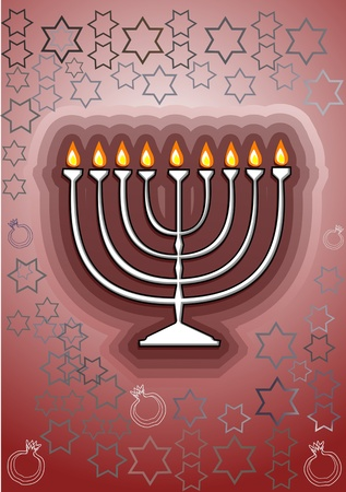 judaism: Channukah menorah  Jewish tradition  Channukah candles Illustration