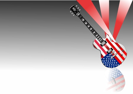 Classic electric guitar decorated with USA flag