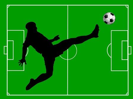scorching: soccer field soccer soccer player and soccer ball Illustration