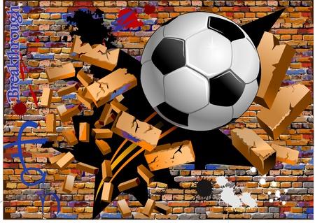 breakthrough  soccer ball crush the brick wall