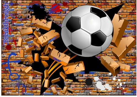 breakthrough  soccer ball crush the brick wall Vector