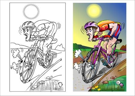 バイカーは彼の自転車の車輪に穿刺を見て  イラスト・ベクター素材