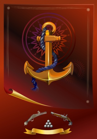 Pirate's collection  Anchor and guns Vector