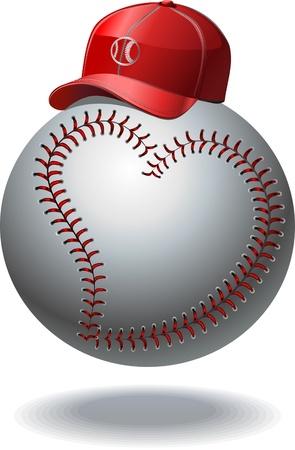 Baseball and baseball cap like baseball  イラスト・ベクター素材