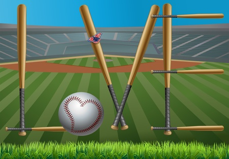 Baseball and baseball bats like baseball Illustration