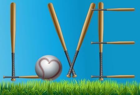 baseball pitcher: Baseball and baseball bats like baseball Illustration