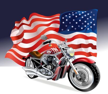 motociclista: moto e la bandiera degli Stati Uniti Vettoriali