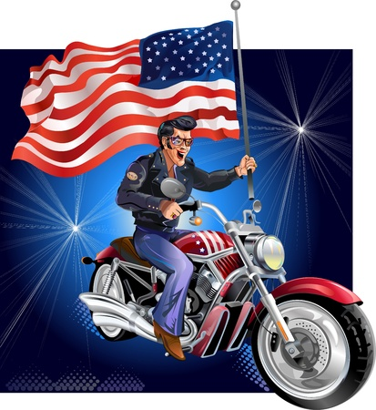 motociclista: motociclista y la bandera de los EE.UU.