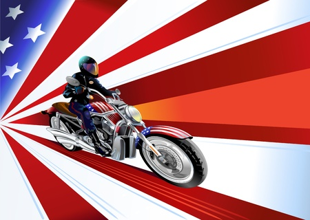 speed ride: motorcyclist and US Flag Illustration