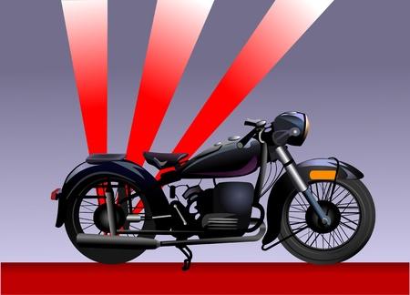 throttle: old motorbike. Illustration