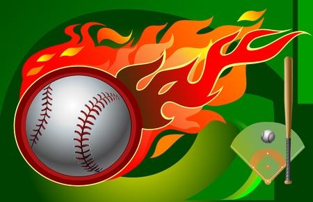 Baseball field and fireball Illustration