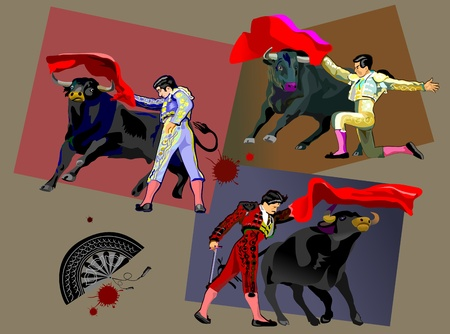 bullfight: Spanish Matador and black Spanish bull  Bullfighter Illustration