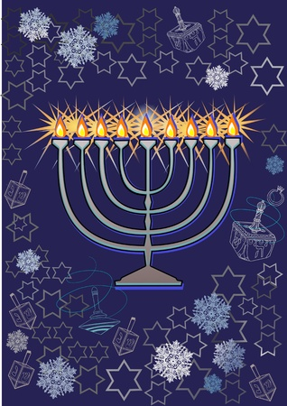 channukah: Channukah menorah  Jewish tradition  Channukah candles Illustration