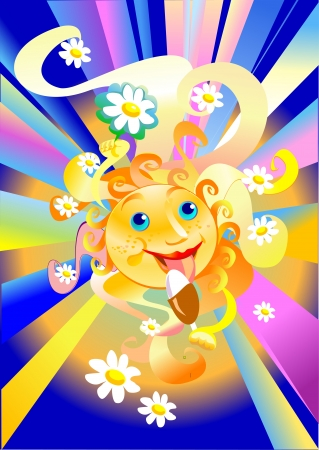 The sun eats ice cream and all the flower shows Vector