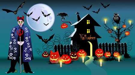 Pumpkin Halloween Card with bat, old house and moon  Vector