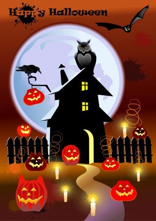 vlad: Pumpkin Halloween Card with bat, old house and moon