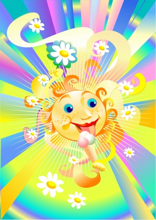 The sun eats ice cream and all the flower shows