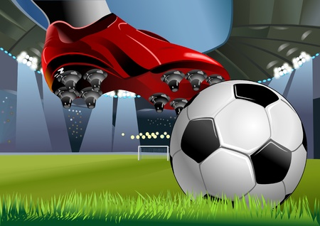 SOCCERBALL AND SOCCER SHOE  Football ball on the grass on the stadium with lights, vector illustration