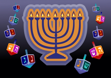 judaica: Channukah menorah  Jewish tradition  Channukah candles and savivon Illustration
