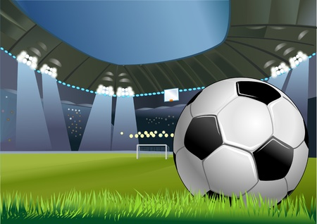 soccer ball in the green grass on the stadium  イラスト・ベクター素材