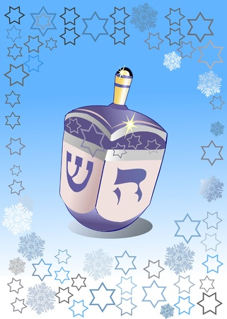 dreidel: hanukkah dreydl on blue background and snowflake