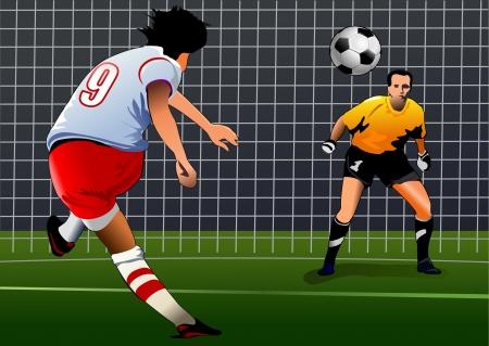 piłkarz kopnąć bramkarza piłkę przygotowuje się do rzutu karnego kick, widok z tyłu