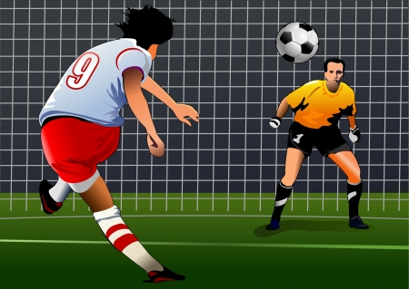 soccer player kick the ball  Goalkeeper preparing for kick  Penalty kick, back view    Vector