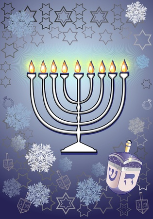 Channukah menorah  Jewish tradition  Channukah candles Illustration
