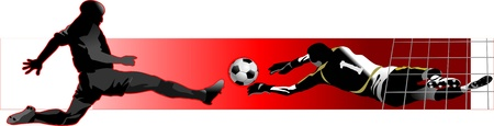 soccer player kick the ball  Goalkeeper catch the ball  Penalty kick Stock Vector - 13920027