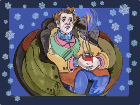 afflicted: Ill man with hot cup Illustration