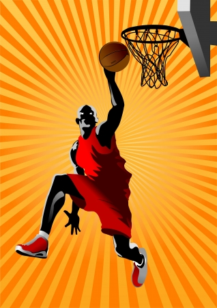 leaping: Vector Basketball Player  Easy change colors
