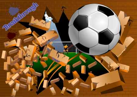 Soccer Ball breaks brick wall at the stadium  Crush the brick wall Vector