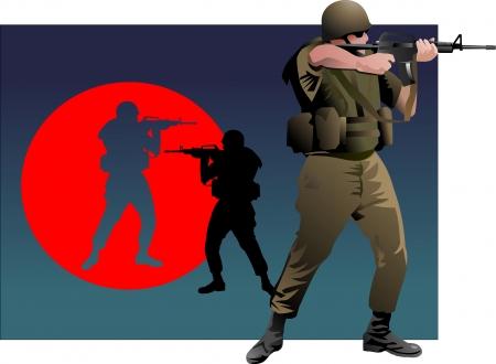 war paint: Soldado en uniforme de camuflaje apuntando su rifle
