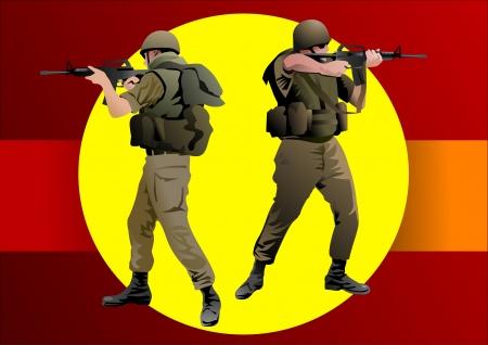 recruter: Soldat en uniforme de camouflage visant son fusil Illustration