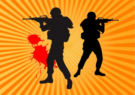 shooter in camouflage uniform aiming his rifle Stock Vector - 13920019
