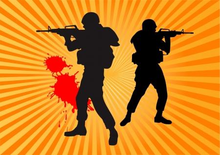 guard duty: tirador en uniforme de camuflaje apuntando su rifle